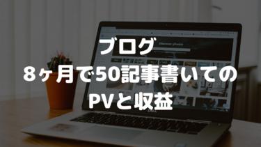 ブログ 8ヶ月で50記事書いてのPVと収益